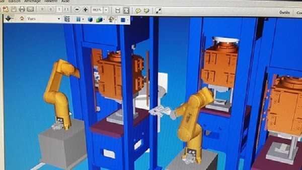 cellule robotisée, simulation virtuelle